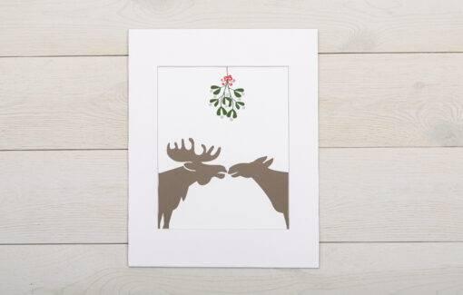 Stacy Kane Design - Matted Print - Moose Under Mistletoe