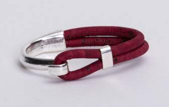 Gem-Lounge-Burgundy-Cork-Silver-Side-Hook-Bracelet