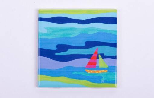Festive Fish - Tile Coaster - Blue Chip