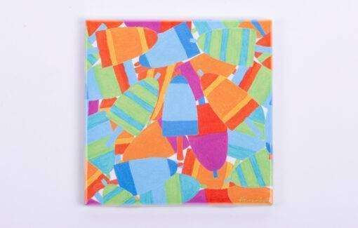 Festive Fish - Tile Coaster - Buoy Burst