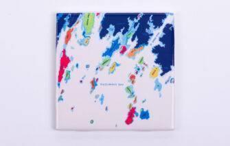 Festive Fish - Tile Coaster - Muscongus Bay Chart