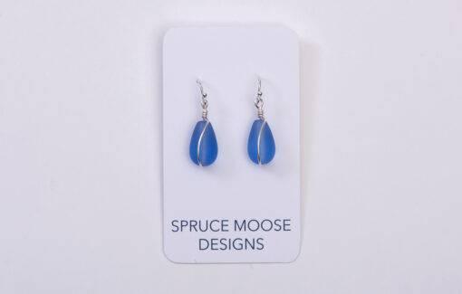 Spruce Moose Designs - Earrings - Cultured Sea Glass Tear Drop Periwinkle