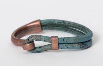 Gem Lounge - Blue Cork Copper Side Hook Bracelet