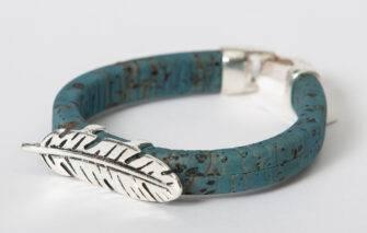 Gem Lounge - Blue Cork Feather Bead Bracelet