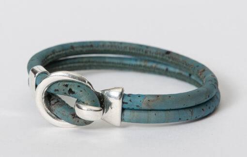 Gem Lounge - Blue Cork Silver Open Hook Bracelet