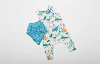 Baloo Baleerie - Sea Creature Romper - Turquoise Sea Baby Bib Set