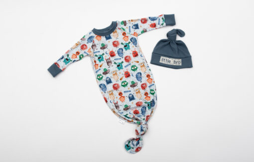 NAPTIME Knots - Little Bro Striped Knotted Gown Set